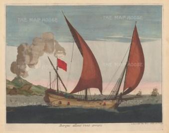 Sailing ship going downwind. Nautical architecture after Captain Henry Sbonski de Passebon.