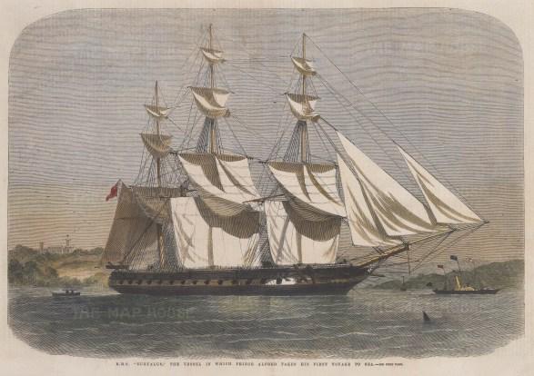 "Illustrated London News: HMS Euryalus. c1905. A hand coloured original antique wood engraving. 14"" x 10"". [NAVp78]"
