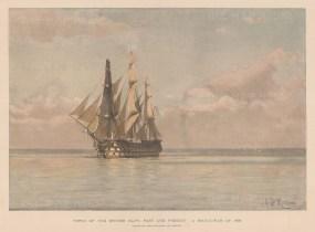 Man-o-War of 1793. After the painting by Chevalier Eduardo de Martino.