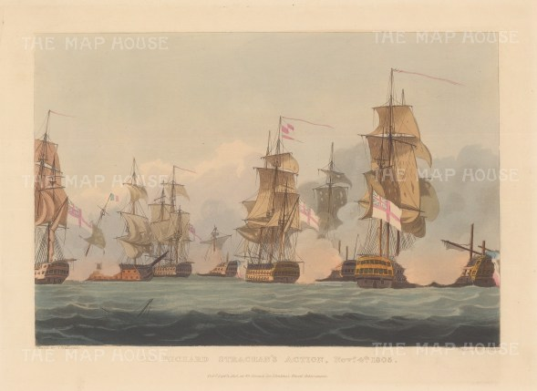 Battle of Cape Ortegal 1805. Sir Richard Strachan's capture of four French ships completed Nelson's victory at Trafalgar. After Thomas Whitcombe. Napoleonic Wars.