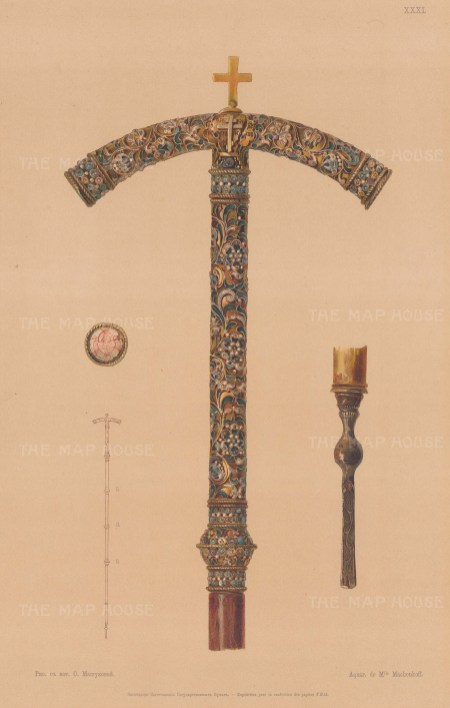 Orthodox Enamel and Gold Staff with detail.