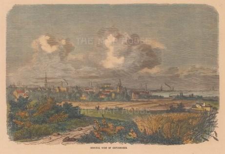 "Collins: Copenhagen, Denmark. c1870. A hand coloured original antique wood engraving. 7"" x 5"". [SCANp350]"