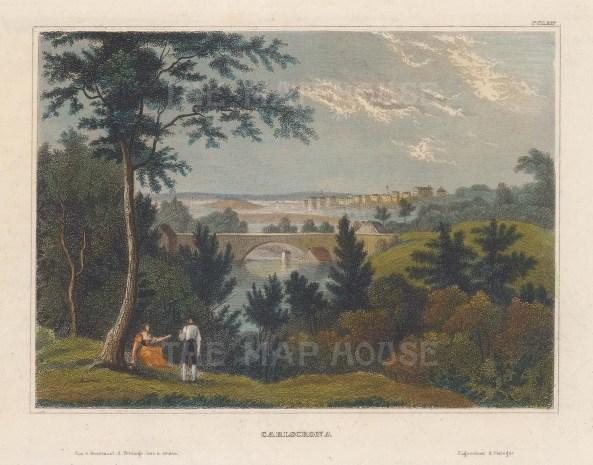 "Meyer: Karlscrona, Sweden. 1839. A hand coloured original antique steel engraving. 6"" x 4"". [SCANp354]"