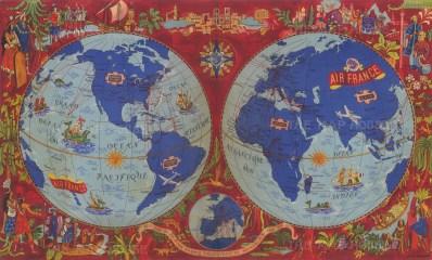 Sur les Ailes d'Air France Decouvrez le Monde a Votre Tour: Promotional poster of a double hemisphere world highlighting air routes and surrounded with illustrations of European explorers by Lucien Boucher.