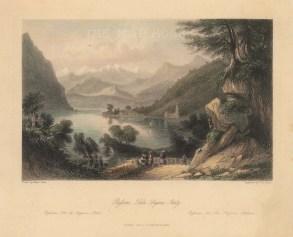 Lago di Lugano: View of Bissone and the Campion d'Italia coast.
