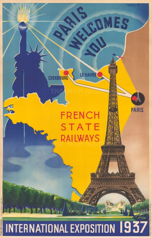 Paris Welcomes You: Promotional poster to advertise French State Railways for visitors to the 1937 Paris Exposition
