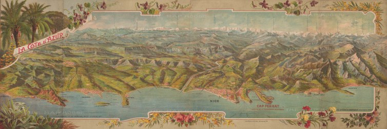 Cote d'Azur: Panoramic map from Frejus to Menton with decorative border. Issued as a promotional brochure to encourage visitors to the coast.