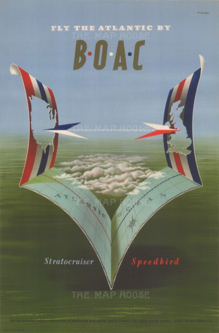 Fly the Atlantic by BOAC: Promotional poster of an origami Atlantic to advertise the introduction of the Stratocruiser Speedbird to the BOAC fleet.