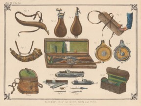 Accessories of the Shot Gun and Rifle including cartridge holders and gun cases.