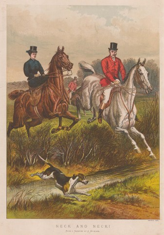 Neck and Neck. Gentleman and Lady Rider jumping a stream.