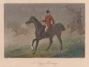 Foggy Morning. Huntsman in red coat on his horse.