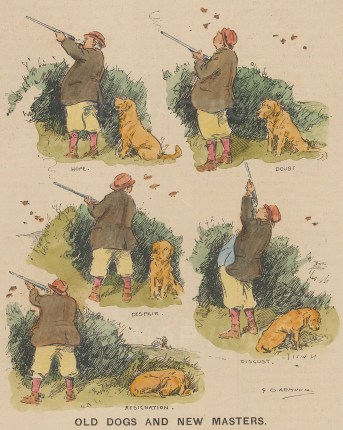 Punch: Old dogs and new masters. 1923. A hand coloured original vintage wood engraving. [FIELDp1514]