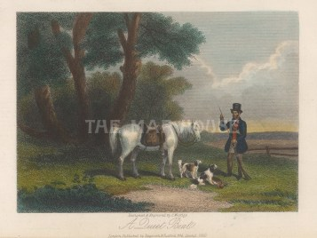 """Westley: Hare Shooting. 1859. A hand coloured original antique steel engraving. 6"""" x 4"""". [FIELDp1562]"""