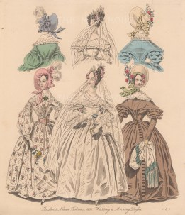 With two hats & wedding veil.