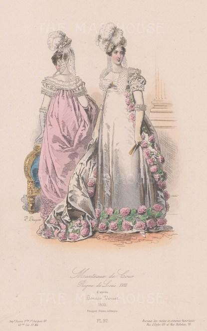 Court dress during reign of Louis XVIII, 1816.