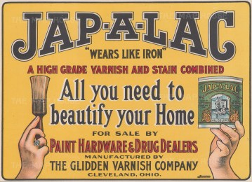 """Edwards & Deutsch: Jap-A-Lac Varnish and Stain Combined. 1910. An original antique chromolithograph. 9"""" x 7"""". [DECp1509]"""