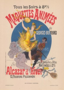 Advertisement for the popular concert hall's production of George Bertrand's Animated Puppets, by Cheret.