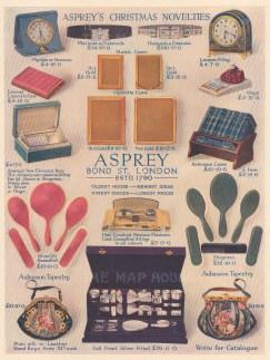 Christmas Novelties. Cases, brushes, jewellery, clocks and purses.