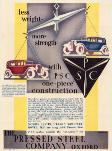 Pressed Steel Company, Oxford: Less Weight - More Strength - with P. S. C. one-piece construction.