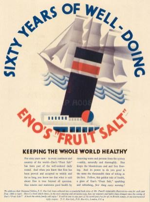 """Punch: Eno's Fruit Salt. 1929. An original vintage chromolithograph. 8"""" x 10"""". [DECp1883]"""