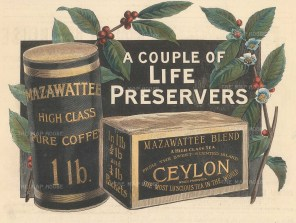 "Illustrated London News: Mazawatte Tea & Coffee. 1895. A hand coloured original antique wood engraving. 10"" x 6"". [DECp1986]"