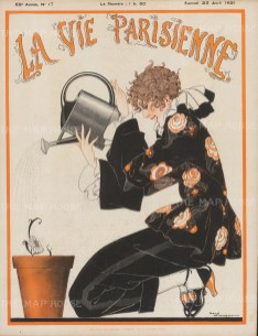 Fashionable girl watering a flower pot. Cover page after the renowned Art Deco poster artist Rene Vincent.