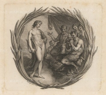 Apollo with a lyre and Pan with pipes.