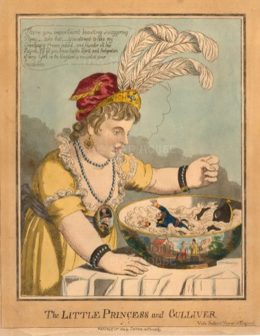 """Fores: The Little Princess and Gulliver. 1803. An original hand coloured antique etching. 10"""" x 12"""". [DECp2138]"""