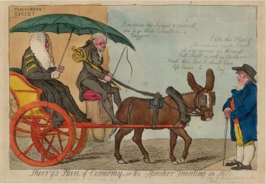 Sherry's Plan of Economy or the Speaker travelling in stile. The speaker in a donkey cart. Sherry refers to Richard Sheridan, famous playwright and Whig politician.