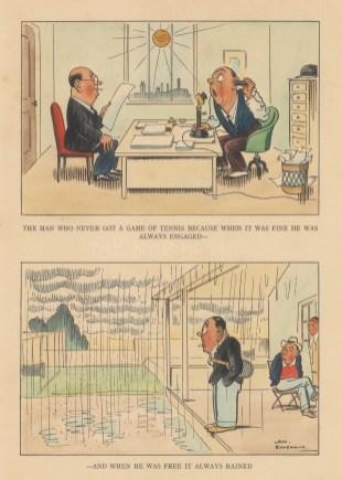 "Bateman: Tennis. c1930. A hand coloured original vintage lithograph. 7"" x 10"". [DECp2204]"