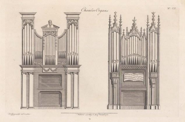 "Chippendale: Chamber Organs. c1760. An original antique copper engraving. 14"" x 10"". [DECp77]"