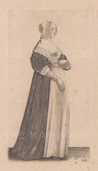A woman wearing a bonnet and an apron.