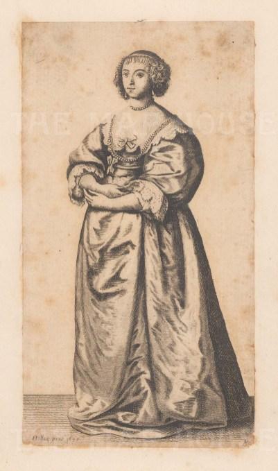 "Hollar: English Costume. 1794. An original antique copper engraving. 3"" x 5"". [DECp934]"