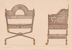 Russian Imperial Collection. Iron and Brass Campaign Chair.
