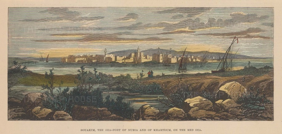 Souakim: View of the port of Nubia and Khartoum on the Red Sea