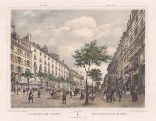 """Benoit: Boulevard des Italiens. c1860. A hand coloured original antique lithograph. 16"""" x 12"""" .[FRp1251]"""