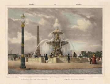 "Benoit: Fountain des Mers. c1860. A hand coloured original antique lithograph. 16"" x 12"". [FRp1608]"