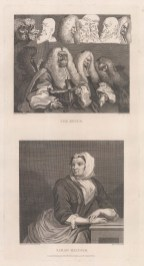 """Hogarth: Sarah Malcolm and The Bench. 1802. An original antique copper engraving. 9"""" x 17"""". [MISCp2988]"""