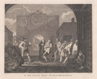 In 1748 Hogarth was arrested as a spy while sketching the arms of England on a city gate with Francis Hayman. The title is from a popular song in praise of roast beef, symbol of Britain's power and wealth.