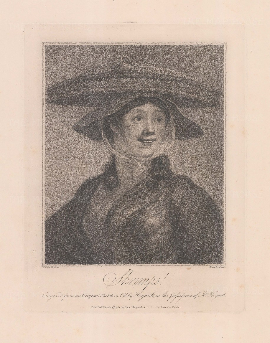 This engraving by Bartolozzi depicts Hogarth's renowned painting, 'Shrimp Girl'. After his death, his wife used this painting to demonstrate Hogarth's skill as a painter of flesh.