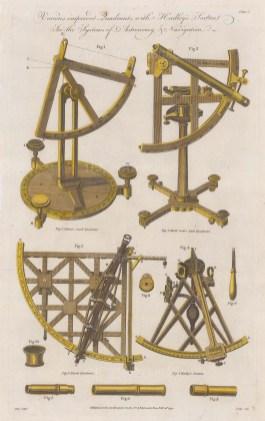 Scientific Instruments: Hadley's Sextant with Adam's quadrant, Bird's Quadrant and Mural Telescope Quadrant.
