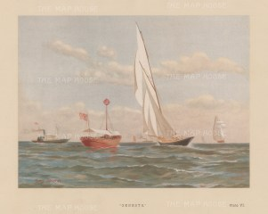 80 ton cutter designed by John Beavor Webb in 1883. Challenger in the 1885 America's Cup against Puritan.