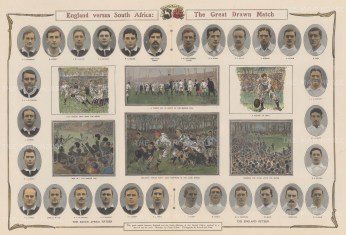 England v. South Africa: The Great Drawn Match. Six game scenes. Images of all players.