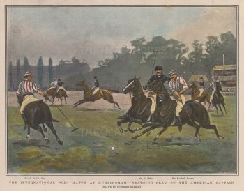The International Polo Match. Nearside play by the American captain.