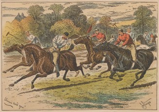 "Sturgess: Polo Match. 1891. A hand coloured original antique wood engraving. 6"" x 5"". [SPORTSp3017]"