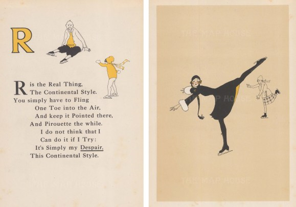 R is for the Real Thing. Rhyme, and figure skater. Double window mounted.