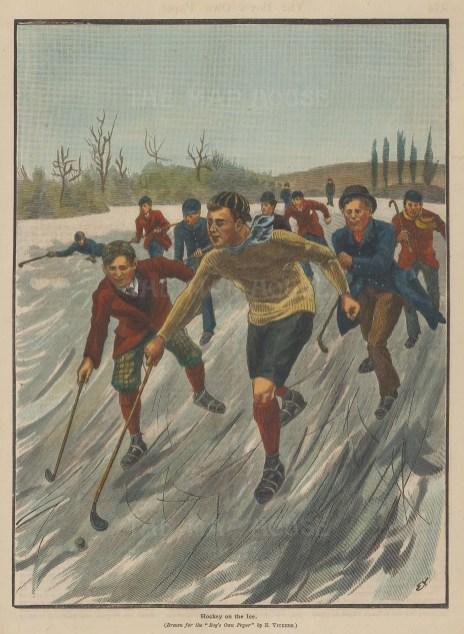 "Boy's Own: Ice Hockey. 1892. A hand coloured original antique wood engraving. 7"" x 10"". [SPORTSp3159]"