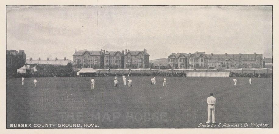 "E. Hawkins & Co.: Sussex County Ground, Hove. 1895. An original black & white antique photo-lithograph. 8"" x 4"". [SPORTSp3230]"