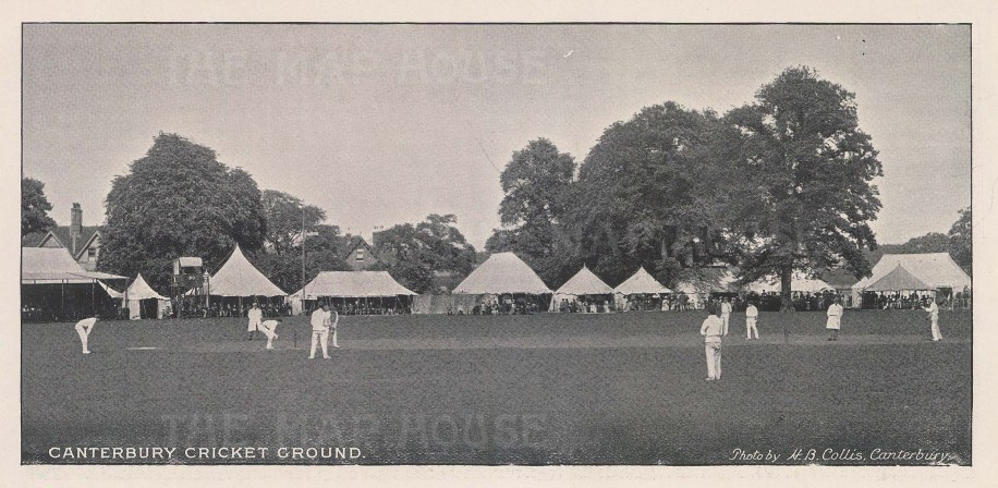 "Collis: Canterbury Cricket Ground. 1895. An original black & white antique photo-lithograph. 8"" x 4"". [SPORTSp3234]"
