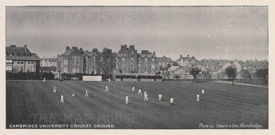 "Steam & Son: Cambridge University Cricket Ground. 1895. An original black & white antique photo-lithograph. 8"" x 4"". [SPORTSp3236]"